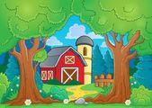 Tree theme with farm 3 — Stock Vector