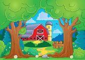 Tree theme with farm 4 — Stock Vector