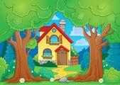 Tree theme with house — Vetor de Stock