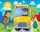Image with school bus theme 6 — Stok Vektör