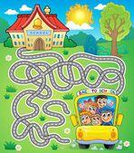 Maze 7 with school bus — Stock Vector