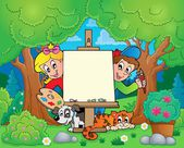 Tree theme with painting children — Stock Vector