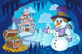 Winter cave with snowman — Stock Vector