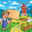 Farmer with sign near windmill — Stock Vector #51634003
