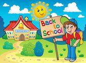 Boy with sign near school — Stock Vector