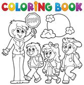Coloring book school kids theme 1 — Stock Vector