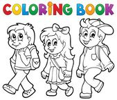 Coloring book school kids theme 2 — Vecteur