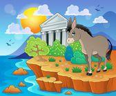 Cute donkey on shore — Stock Vector