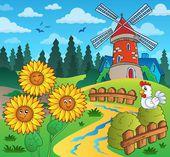 Sunflowers near windmill — Stock Vector