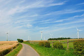 Way through the meadow with wind turbines generating electricity — Stock Photo