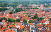 Roofs of Flemish Houses and windmill in Brugge, Belgium — Stock Photo