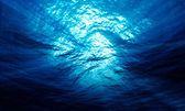Light underwater in the ocean with particular — Stock Photo