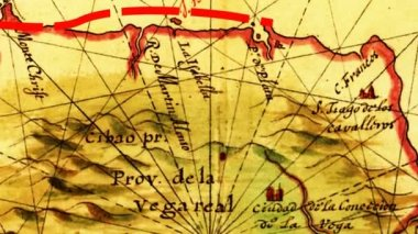 Starodávná mapa s tečkovanými čarami jako cesty — Stock video