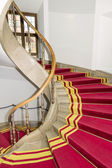 Red carpet. Stairwell in the Polish palace. Royal castle in Warsaw. — Stock Photo
