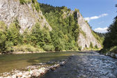 Sights of Poland - beautiful mountain river Dunajec. — Stock Photo