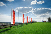 Hill and sky with clouds and polish flag — Stock fotografie