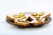 Bread sandwich on plate white background — Stock Photo