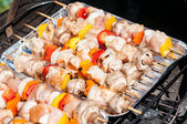 Preparation for the barbecue - raw skewers on a tray — 图库照片