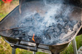 Firing up the grill, kindling fire — Stock Photo