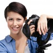 Woman-photographer takes shots — Stock Photo