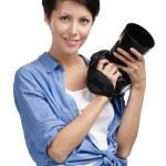 Pretty woman-photographer takes snaps — Stock Photo #12419084