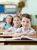 Pupils are very attentive at classes — Stock Photo