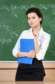 Serious teacher is at the blackboard — Stock Photo