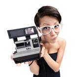 Woman with cassette photographic camera — Stock Photo
