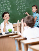 Every pupil wants to answer — Stock Photo