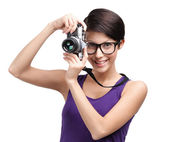 Attractive lady hands retro photographic camera — Stock Photo