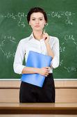 Smiley lärare på tavlan — Stockfoto
