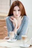 Dreamy woman with milk cocktail — Foto de Stock
