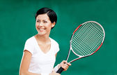 Portrait of professional female player — Stock Photo