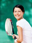 Portrait of pretty tennis player — Stock Photo