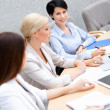Businesswomen discuss business plan — Stock Photo