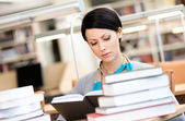 Beautiful girl reads at the library — Stock Photo