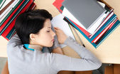 Student sleeping at the desk — Stock Photo