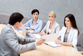 CEO holds a business meeting — Stock Photo