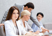 Business at the conference discuss current issues — Stock Photo
