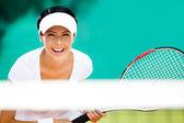 Woman in sportswear playing tennis — Foto de Stock