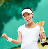 Tennis player won the cup — Stock Photo