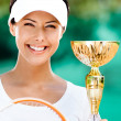 Successful female tennis player won competition — Stock Photo #13538351