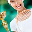 Young female tennis player won match — Stock Photo #13538369