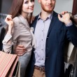 Attractive couple is in the shop — Stock Photo