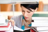 Reading book attractive female — Stock Photo