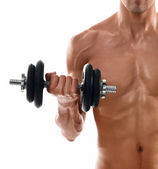 Sexy body of muscular man lifting weight — Stock Photo