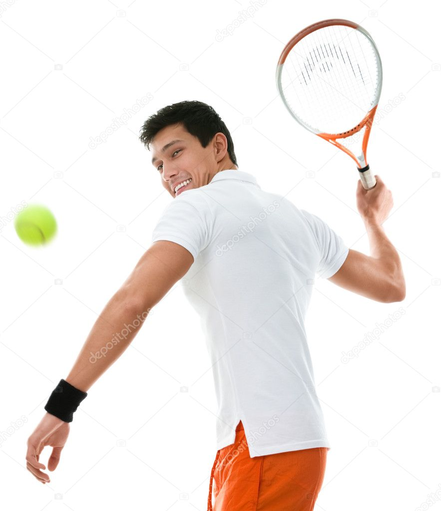 titillating tennis player can't believe the size of his racket  85340