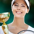 Female tennis player won match — Stock Photo #13693172