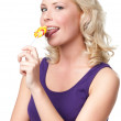 Woman with lolly — Stock Photo
