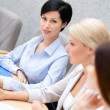 Female partners discuss business plan — Stock Photo